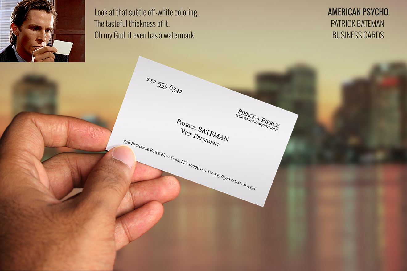 Portfolio northeast ink replica business cards american psycho colourmoves