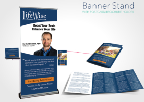 Banner Stand With Postcard/Brochure Holder