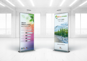 Grow Lamp Banner Stands